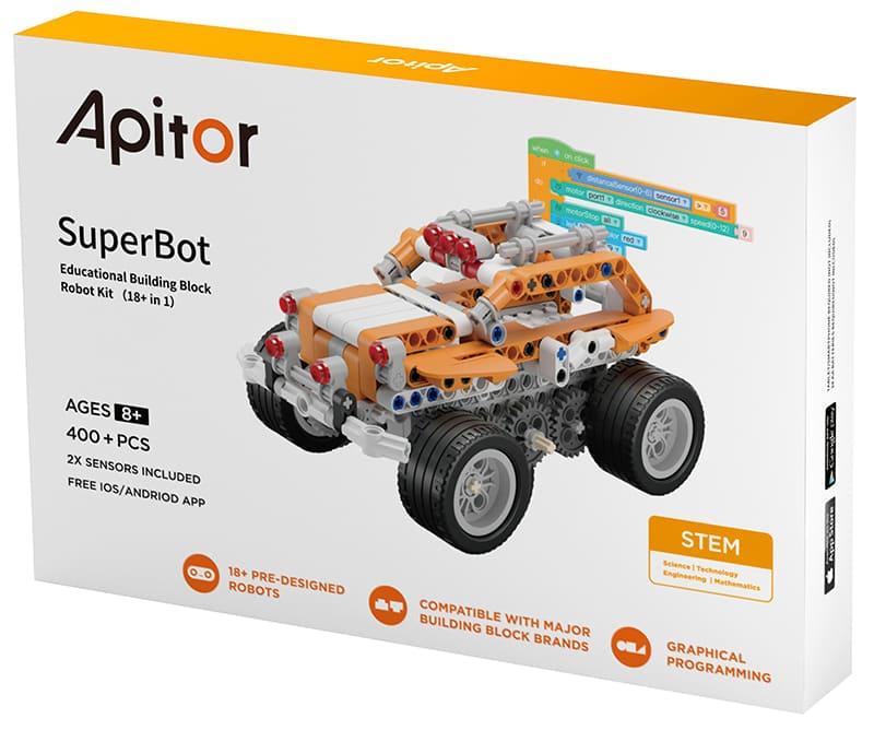 Программируемый конструктор Apitor SuperBot 19 в 1 совместим с лего (игрушка, машинка, самолет, робот, трансформер) Большой развивающий набор для мальчиков и девочек (с сенсорами и датчиками) аналог Lego